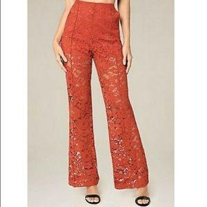 Bebe Lace Wide Leg Trousers Burnt Orange NWT